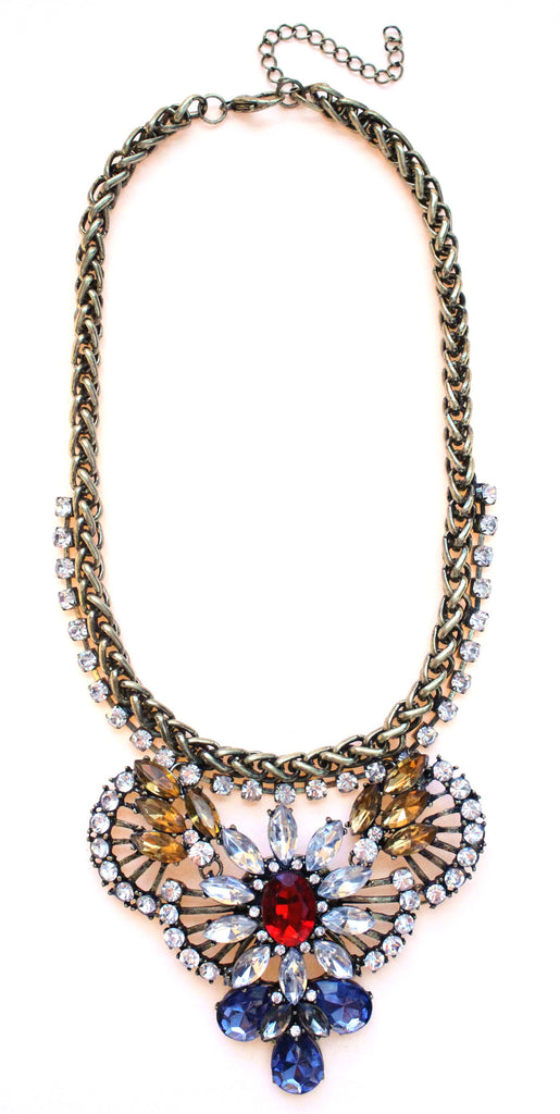 Rustic Glam Crystal Pendant Statement Necklace-Multi