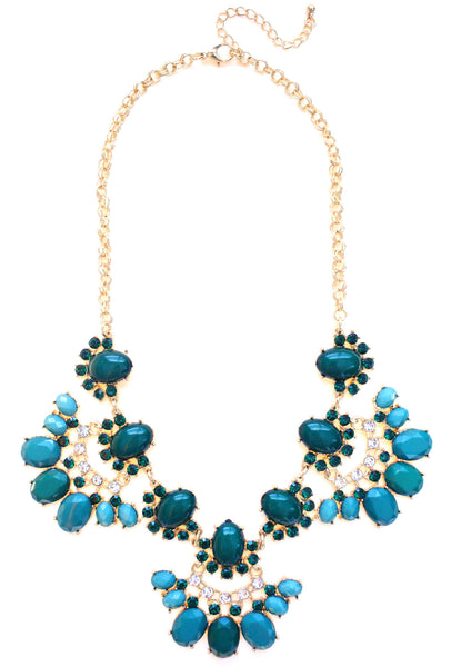 Stone & Crystal Fan Necklace- Green