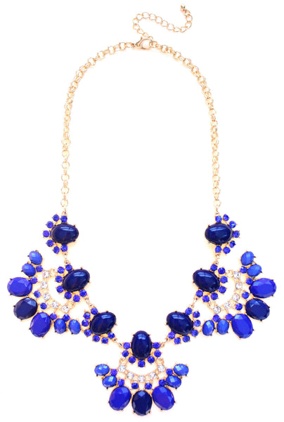 Stone & Crystal Fan Necklace- Royal