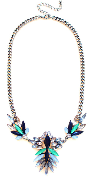 Jeweled Spike Necklace-Montana Green & Navy