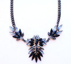 Jeweled Spike Necklace- Black & Crystal