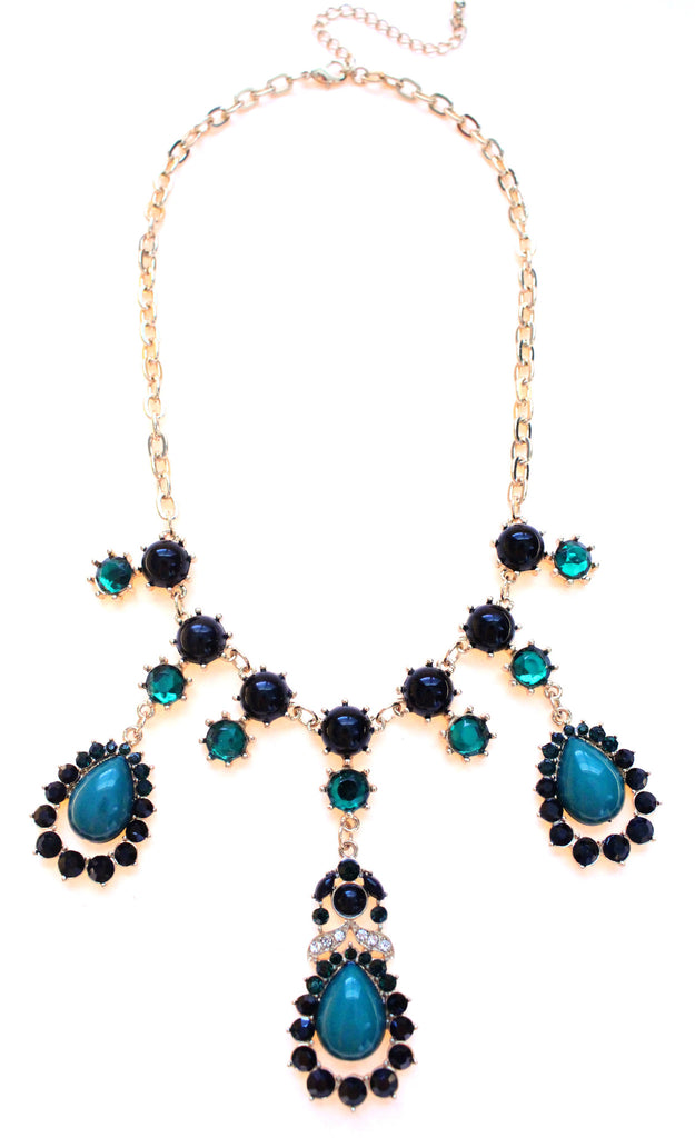 Teardrop Crystal Jeweled Necklace