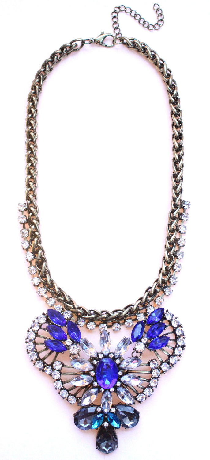 Rustic Glam Crystal Pendant Statement Necklace-Cobalt