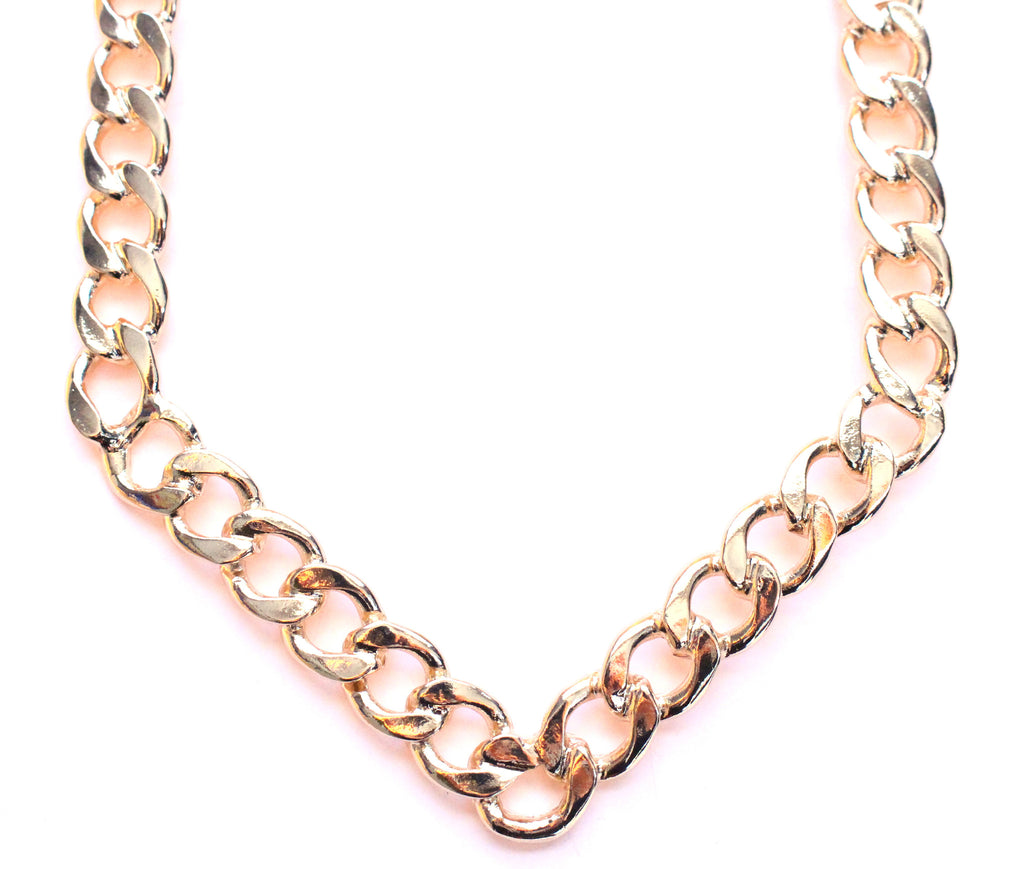 V-Shaped Gold Curb Chain
