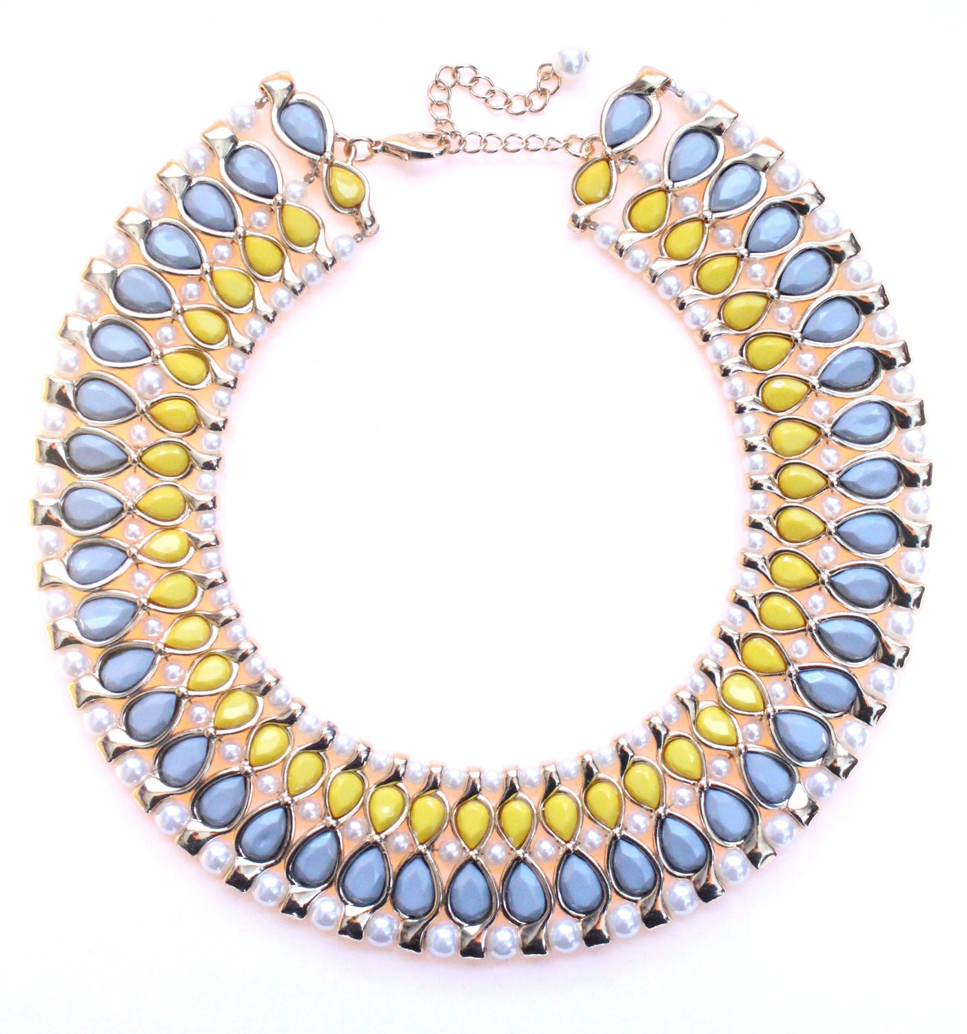 Beaded & Jeweled Collar Statement Necklace- Light Gray & Yellow
