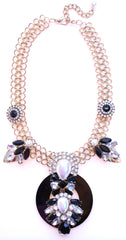 Royal Jeweled Mix Statement Necklace-Black & Crystal