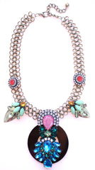 Royal Jeweled Mix Statement Necklace- Multi Brights