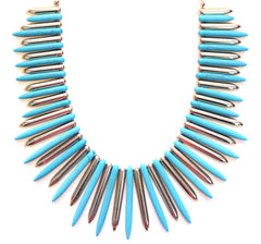 Turquoise & Gold Spike Statement Necklace