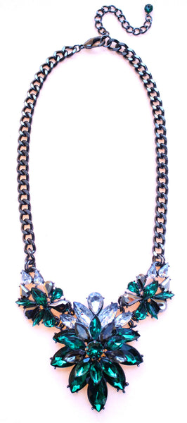 Emerald Marquise Crystal Cluster Statement Necklace