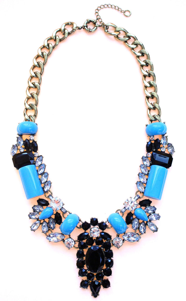 Luxe Crystal-Encrusted Collar Statement Necklace- Turquoise