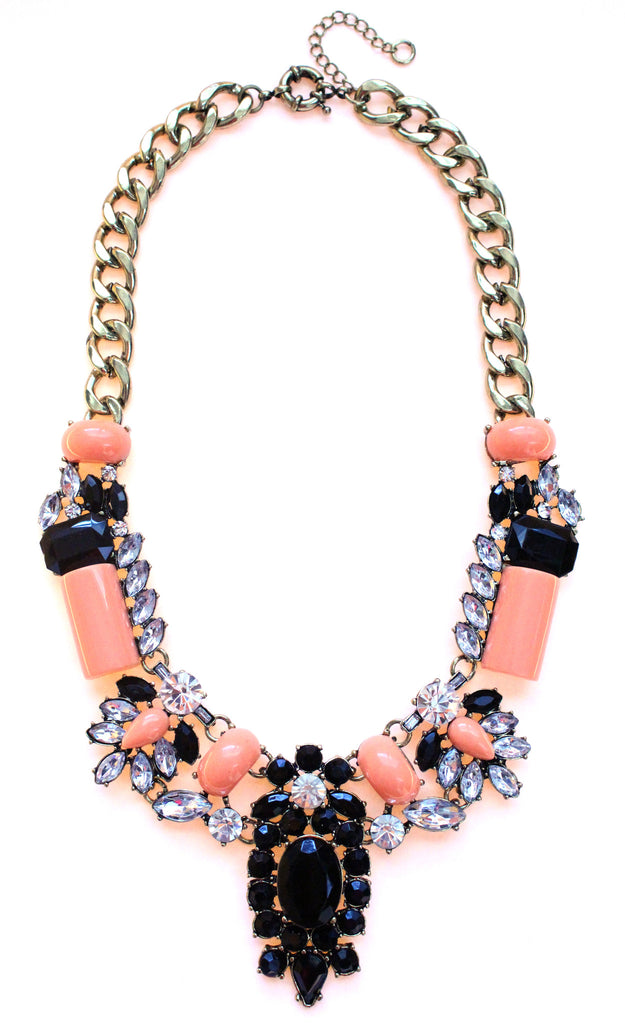 Luxe Crystal-Encrusted Collar Statement Necklace- Peach