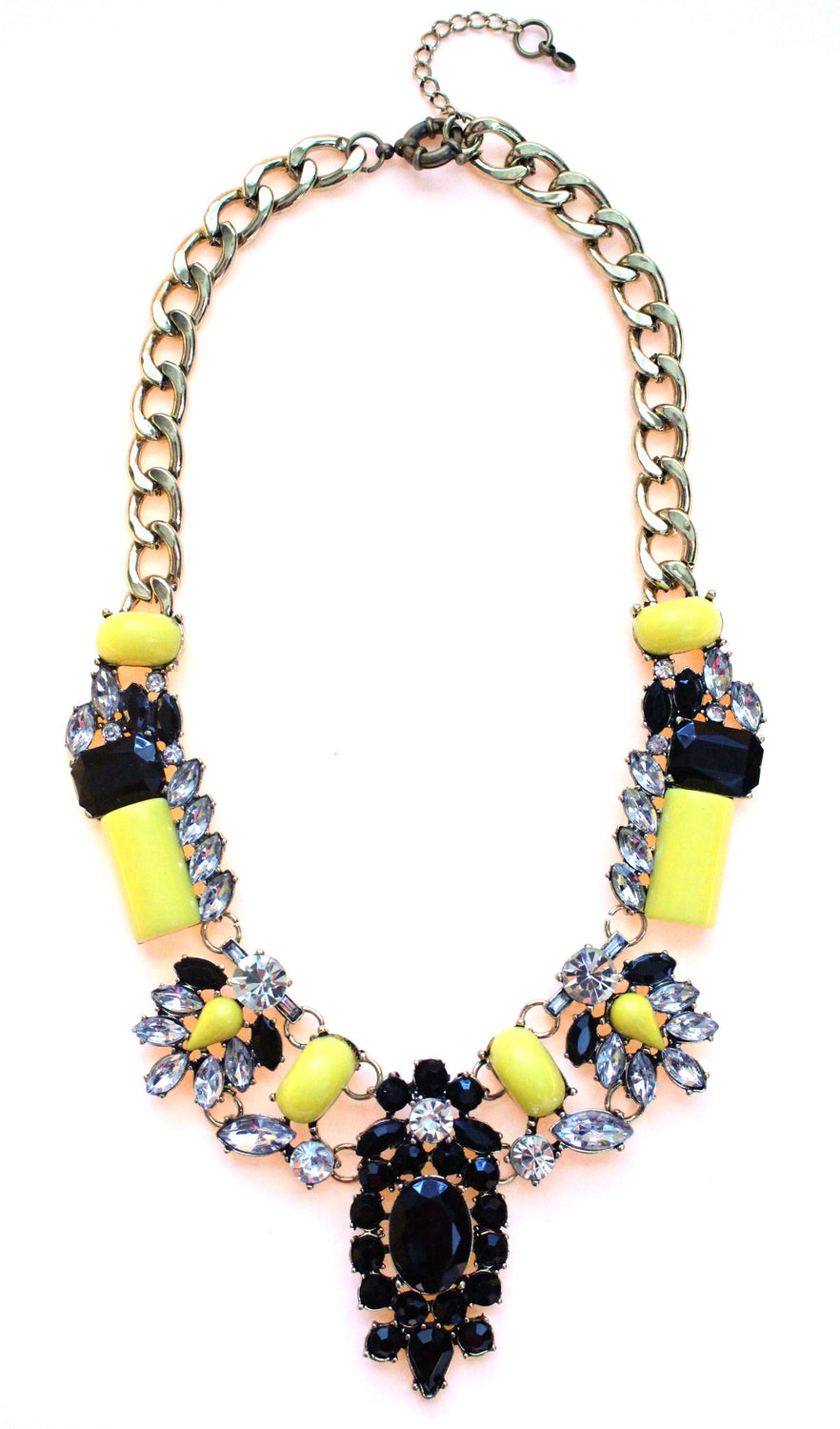 Luxe Crystal-Encrusted Collar Statement Necklace- Yellow