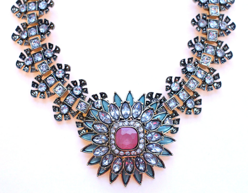 Luxe Crystal Flower Statement Necklace-Pink & Mint