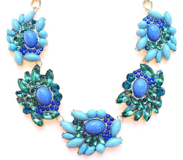Stone Wave Cluster Statement Necklace
