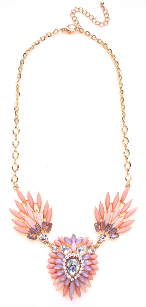 Crystal Peacock Petals Necklace- Peach