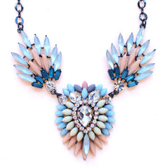 Crystal Peacock Petals Necklace- Multi Pastel