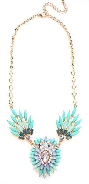 Crystal Peacock Petals Necklace- Mint