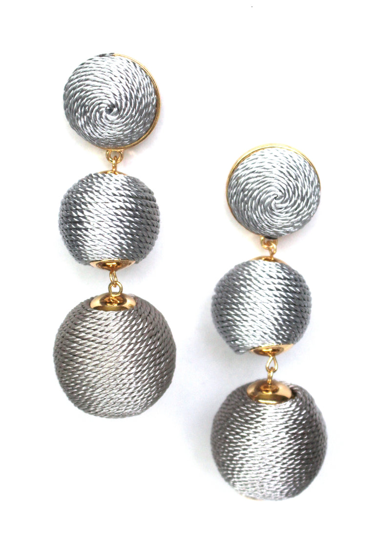 Shimmer Lee Drop Earrings- Grey