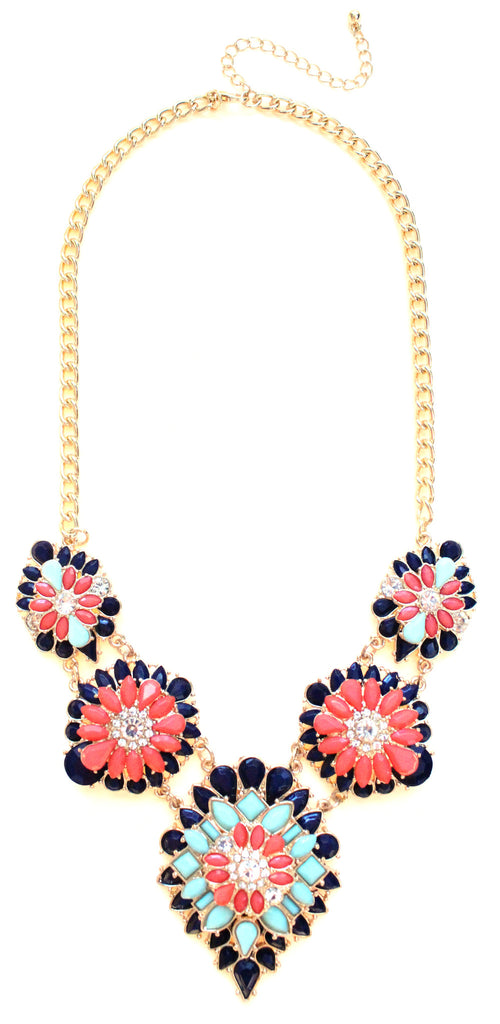 Tri-Color Blossoming Jeweled Necklace- Navy & Coral