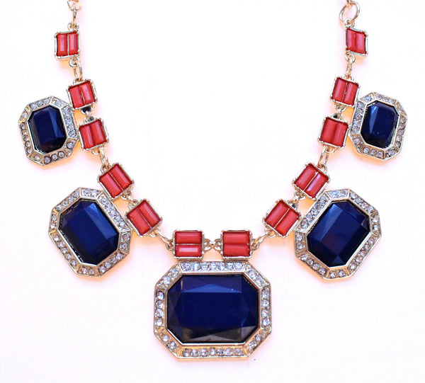 Rectangular Jeweled Nautical Necklace- Navy & Coral