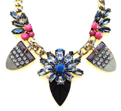 Tribal Glam Statement Necklace-Navy & Pink