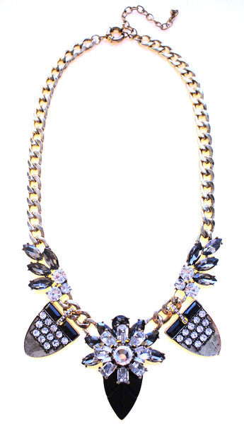 Tribal Glam Statement Necklace- Black & Crystal