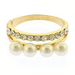 Crystal & Pearl Stacked Ring