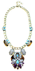Luxe Tortoise & Turquoise Statement Necklace