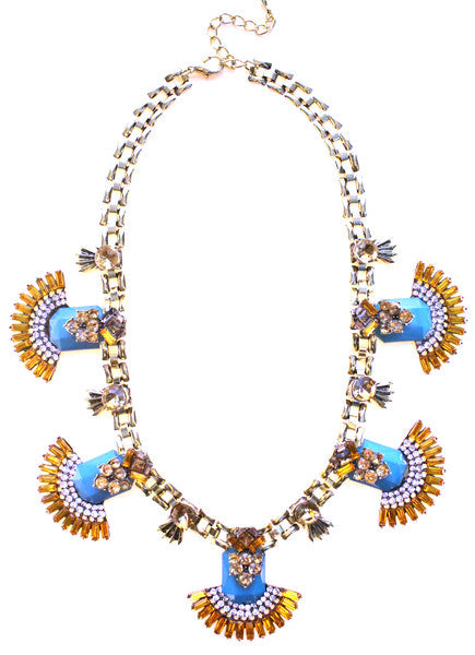 Luxe Jeweled Fan Statement Necklace