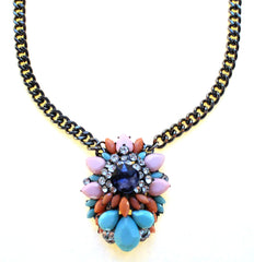 Pastel Gemstone Cluster Pendant Necklace