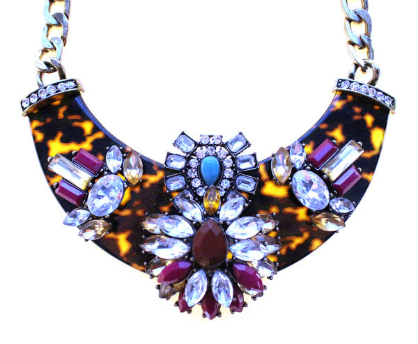 Luxe Embellished Tortoise Statement Necklace- Purple