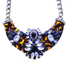 Luxe Embellished Tortoise Statement Necklace- Black & Crystal