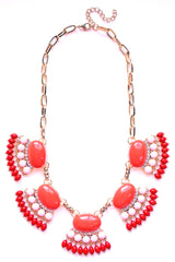 Fan Fringe Statement Necklace- Coral & Pink