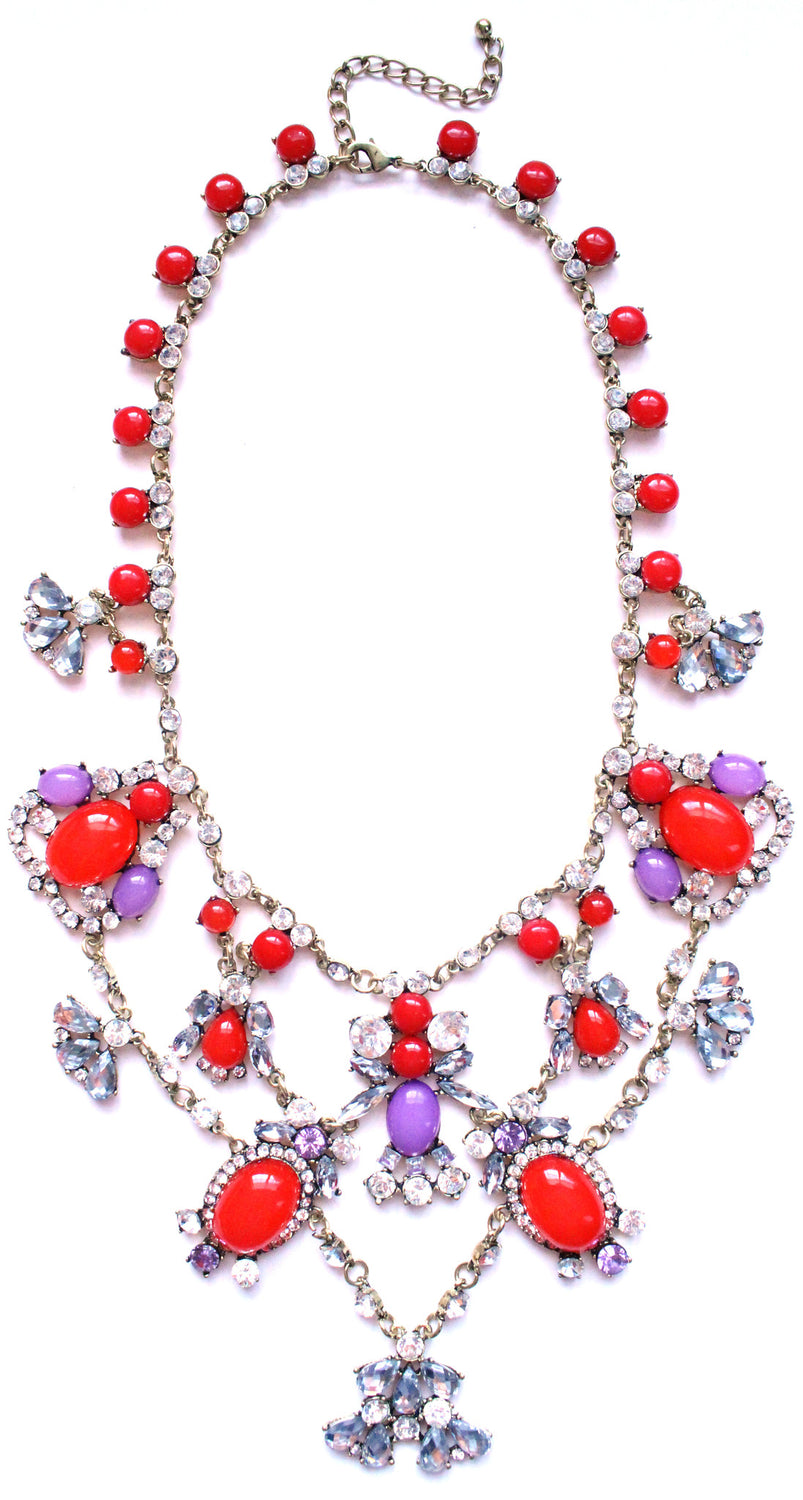 Luxe Crystal Color Stone Statement Necklace