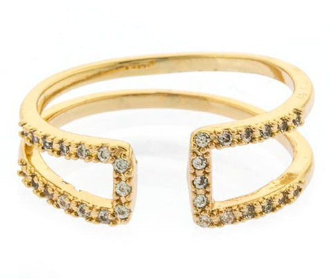 Pavé Crystal Asymmetric Accent Ring- Gold