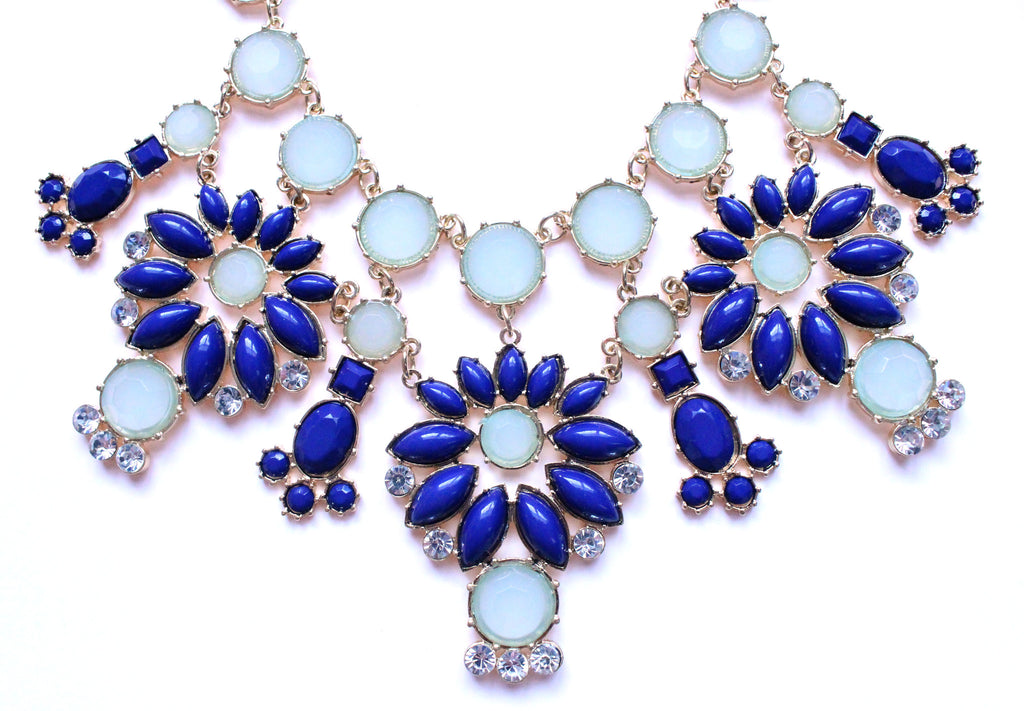 Jeweled Floral Snowflakes Statement Necklace- Blue
