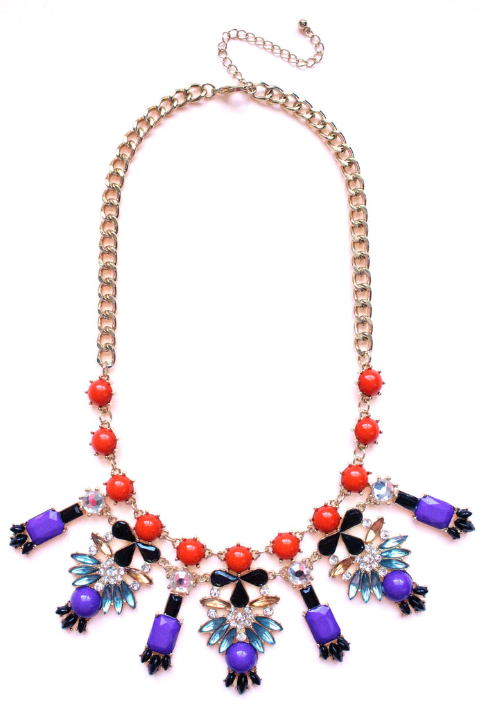 Crystal Icicle Statement Necklace- Purple & Orange