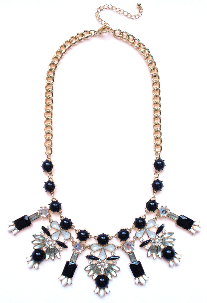 Crystal Icicle Statement Necklace- Black & White