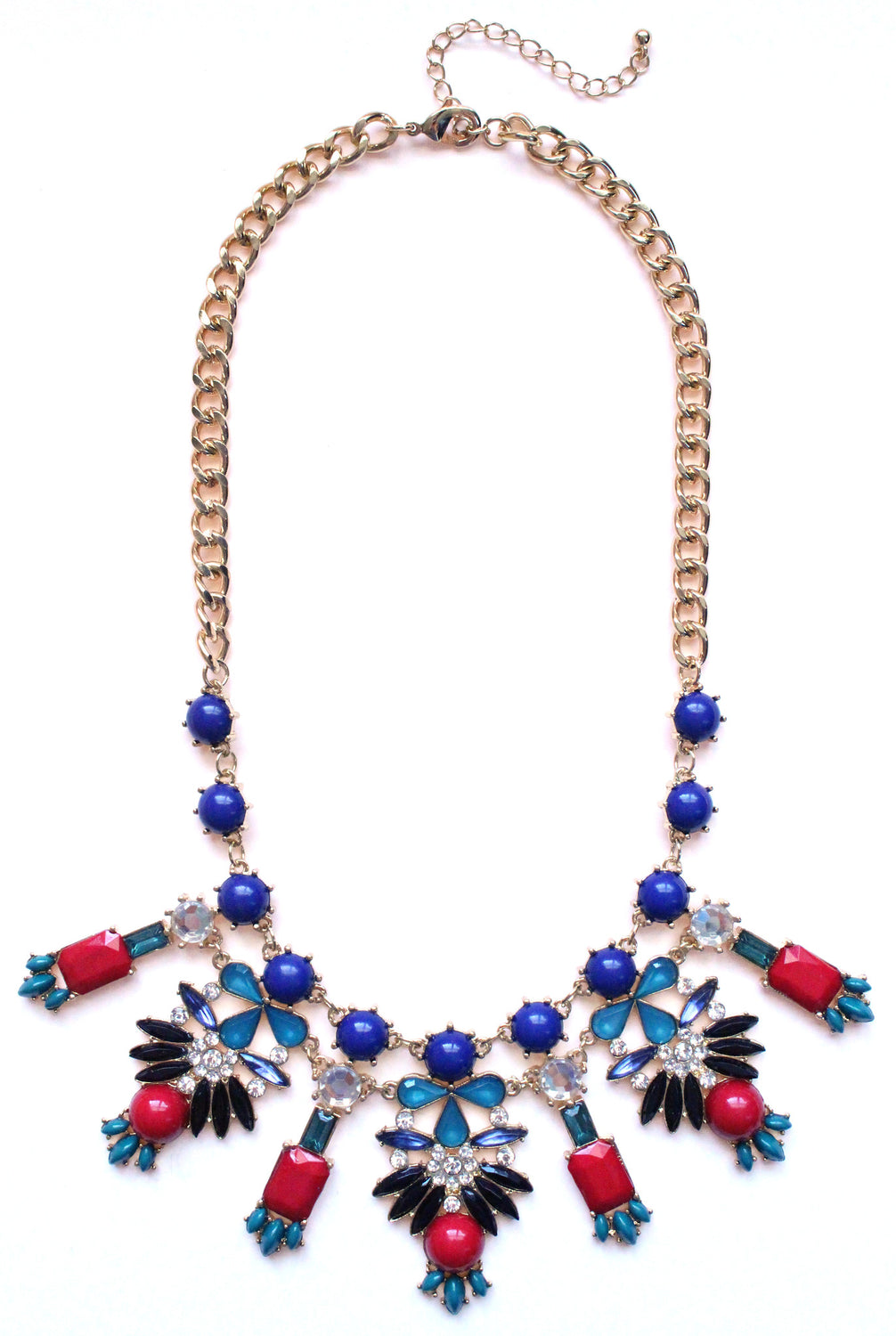 Crystal Icicle Statement Necklace- Navy & Red