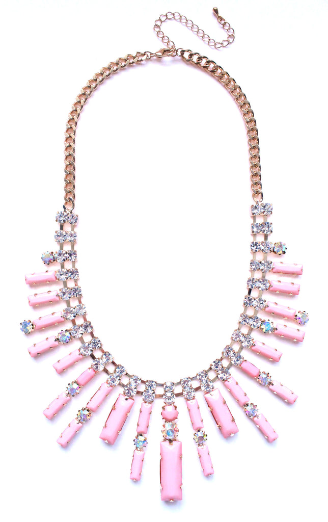 Crystal Spike Bib Statement Necklace- Light Pink