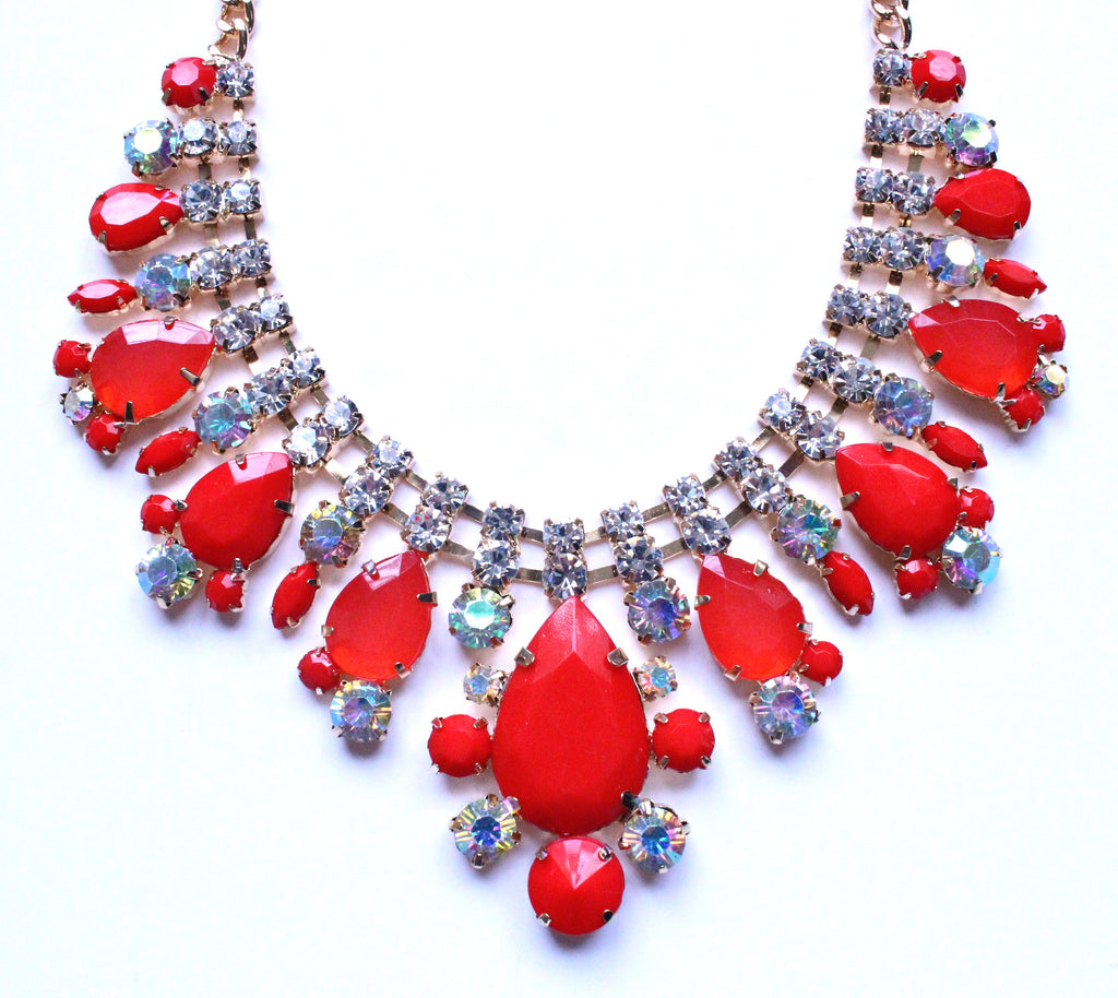 Crystal Oval Teardrop Statement Necklace