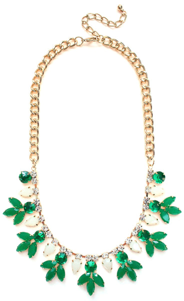 Crystal Rose Bud Necklace- Green