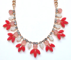 Crystal Rose Bud Necklace- Pink