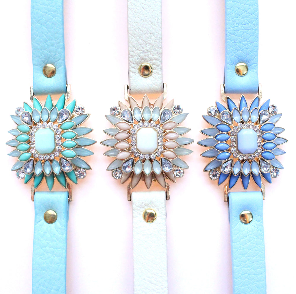 Leather Pastel Bracelets- 3 Color Options