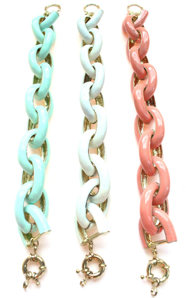 Chunky Enamel Chain Link Bracelets- 3 Color Options