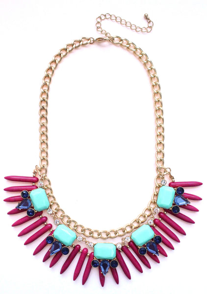 Tribal Spike Jeweled Necklace- Magenta & Mint