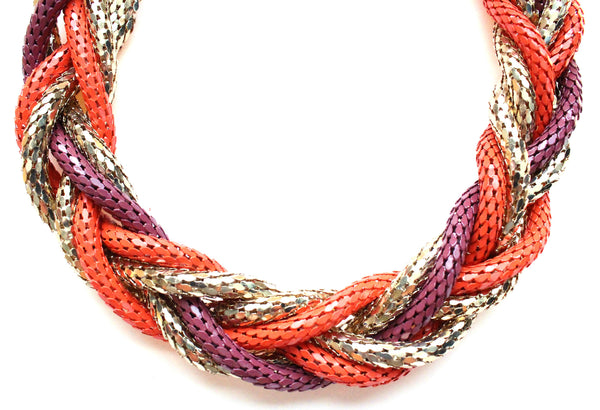 Chunky Twisted Mesh Chain Necklace- Coral & Purple