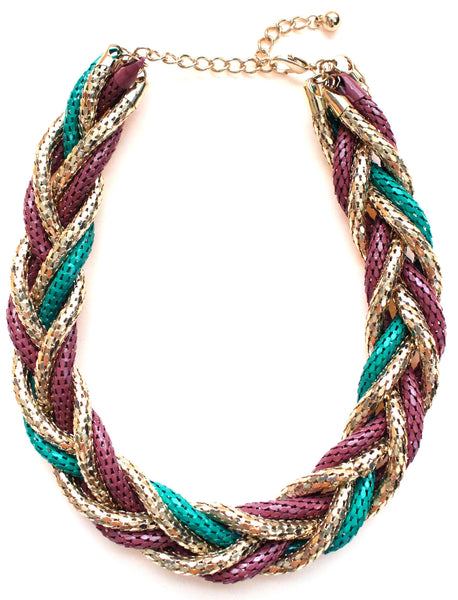Chunky Twisted Mesh Chain Necklace- Green & Purple