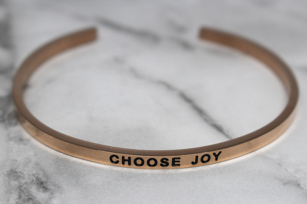 CHOOSE JOY* Cuff Bracelet- Rose Gold