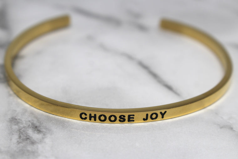 CHOOSE JOY* Cuff Bracelet- Gold